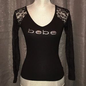 New! Sexy Bebe Bling Lace Long Sleeve Shirt XS